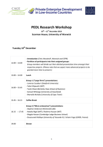 PEDL Research Workshop  Scarman House, University of Warwick Tuesday 10