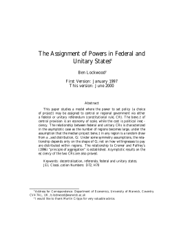 The Assignment of Powers in Federal and Unitary States ¤ Ben Lockwood