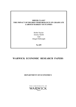 WARWICK  ECONOMIC  RESEARCH  PAPERS