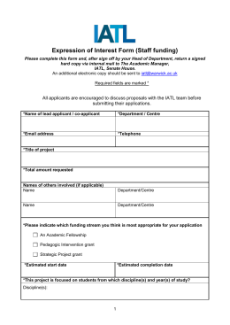 Expression of Interest Form (Staff funding)