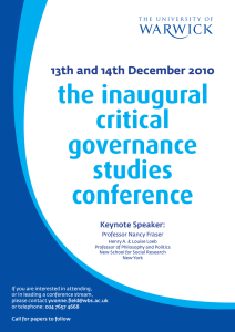 the inaugural critical governance studies