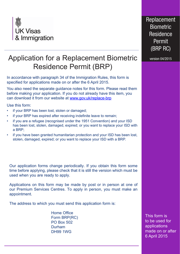 Application For A Replacement Biometric Residence Permit Brp