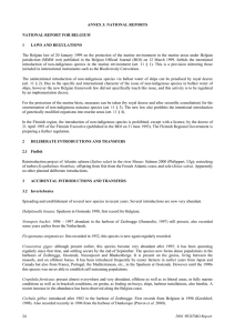 ANNEX 3: NATIONAL REPORTS NATIONAL REPORT FOR BELGIUM 1 LAWS AND REGULATIONS