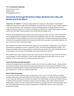 University Exchange Bookstore Helps Students Save Big with For Immediate Release