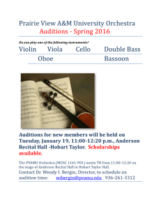 Prairie View A&M University Orchestra Auditions - Spring 2016