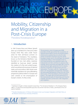 IMAgININg EURoPE Mobility, Citizenship and Migration in a