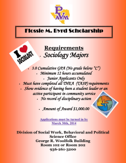 Sociology Majors Flossie M. Byrd Scholarship  Requirements