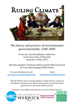 The theory and practice of environmental governmentality, 1500-1800