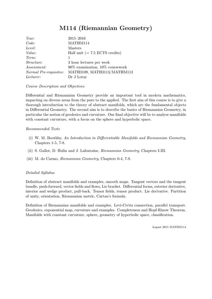 riemannian geometry coursework