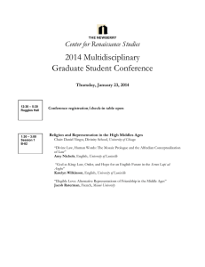 2014 Multidisciplinary Graduate Student Conference Center for Renaissance Studies
