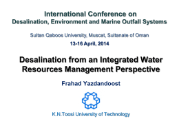 Desalination from an Integrated Water Resources Management Perspective  International Conference on