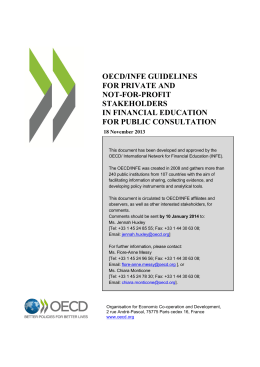 OECD/INFE GUIDELINES FOR PRIVATE AND NOT-FOR-PROFIT STAKEHOLDERS