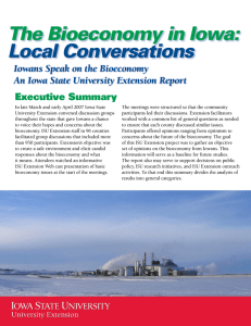 The Bioeconomy in Iowa: Local Conversations Iowans Speak on the Bioeconomy