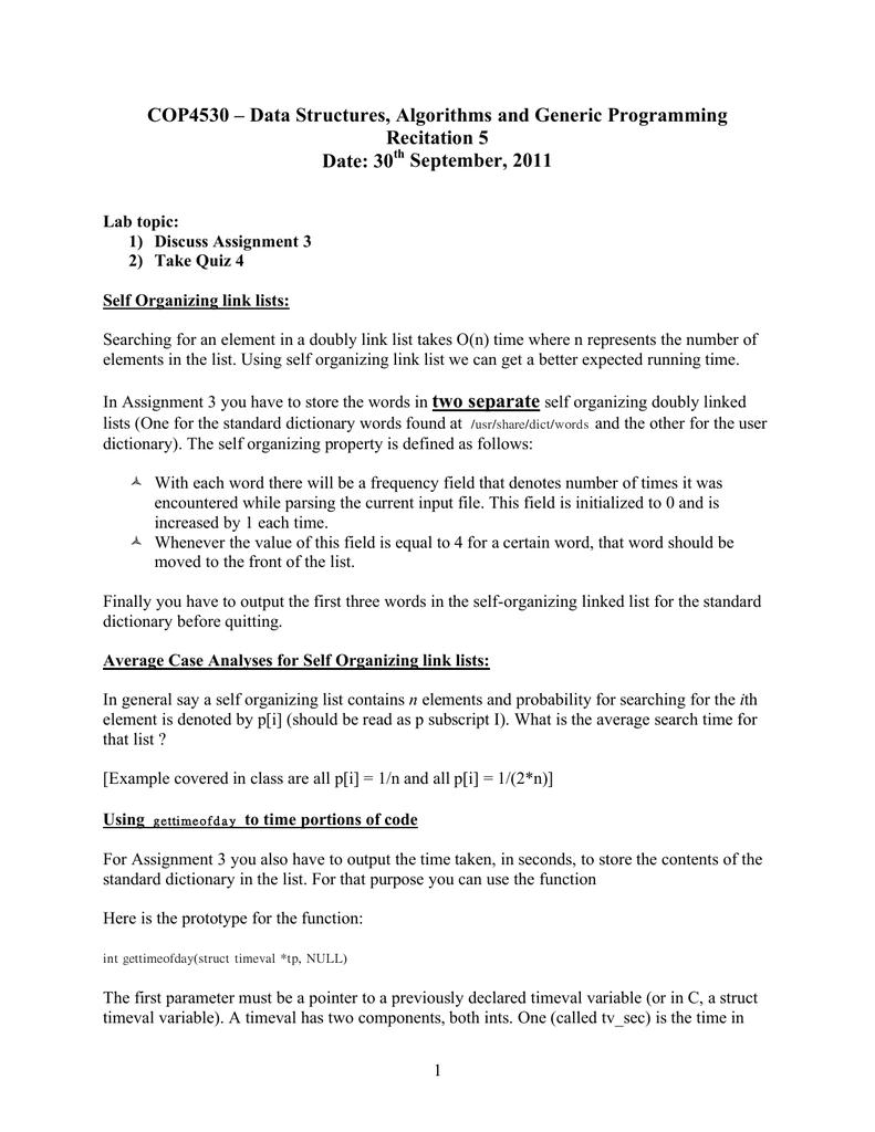COP4530 – Data Structures, Algorithms and Generic