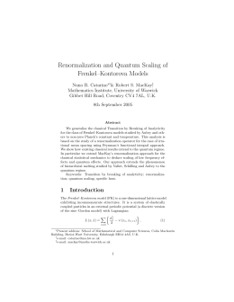Renormalization and Quantum Scaling of Frenkel–Kontorova Models