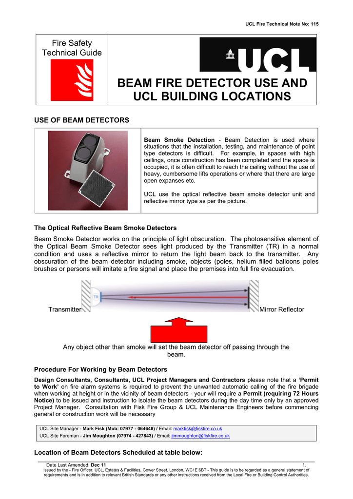 Beam Fire Detector Use And Ucl Building Locations Fire Safety
