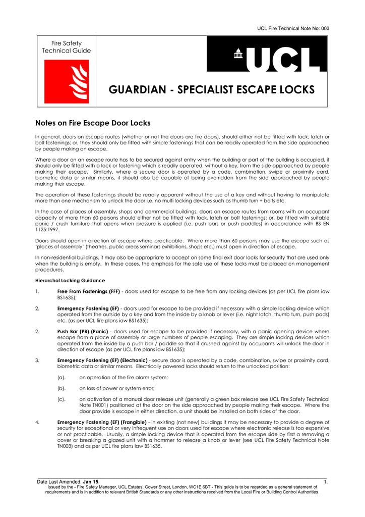 Guardian Specialist Escape Locks Notes On Fire Escape Door Locks