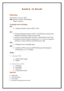 Kamla K. AL-Rawahi Education: Training and workshop: Minor:
