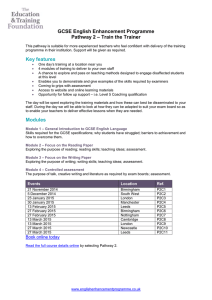 GCSE English Enhancement Programme – Train the Trainer Pathway 2