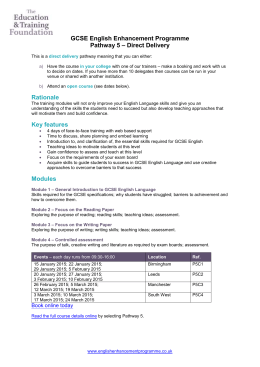 GCSE English Enhancement Programme – Direct Delivery Pathway 5