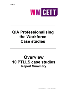 Overview QIA Professionalising the Workforce Case studies