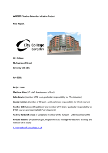 WMCETT:  Final Report. City College