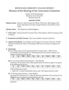 Minutes of the Meeting of the Curriculum Committee