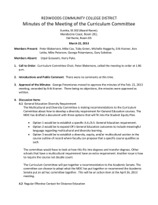 Minutes of the Meeting of the Curriculum Committee  REDWOODS COMMUNITY COLLEGE DISTRICT