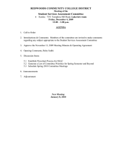 REDWOODS COMMUNITY COLLEGE DISTRICT Student Services Assessment Committee
