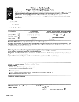 College Of The Redwoods Supplemental Budget Request Form