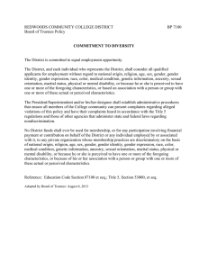 REDWOODS COMMUNITY COLLEGE DISTRICT  BP 7100 Board of Trustees Policy