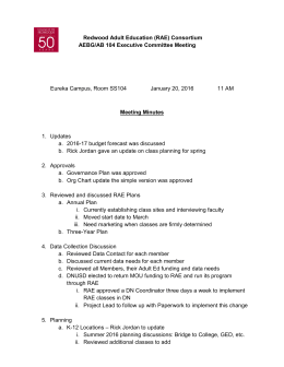 Redwood Adult Education (RAE) Consortium AEBG/AB 104 Executive Committee Meeting Meeting Minutes
