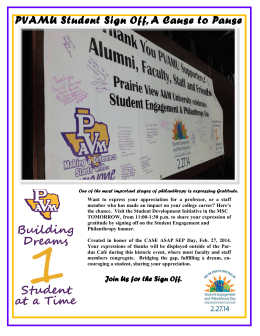 PVAMU Student Sign Off, A Cause to Pause