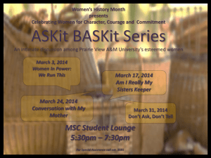 ASKit BASKit Series March 17, 2014 Am I Really My Sisters Keeper