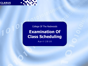 Examination Of Class Scheduling College Of The Redwoods