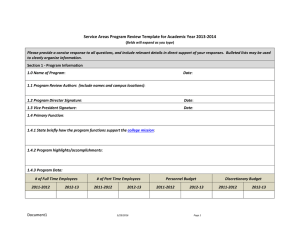 Service Areas Program Review Template for Academic Year 2013-2014