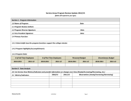 Service Areas Program Review Update 2012/13