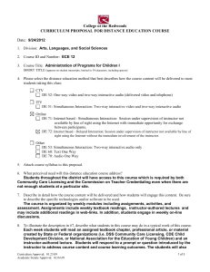 College of the Redwoods CURRICULUM PROPOSAL FOR DISTANCE EDUCATION COURSE Date: