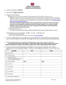 CURRICULUM PROPOSAL College of the Redwoods ENGL 103