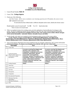 CURRICULUM PROPOSAL College of the Redwoods