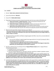 College of the Redwoods CURRICULUM PROPOSAL FOR DISTANCE EDUCATION COURSE