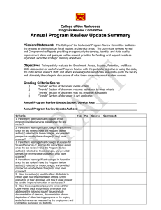 Annual Program Review Update Summary  College of the Redwoods Program Review Committee
