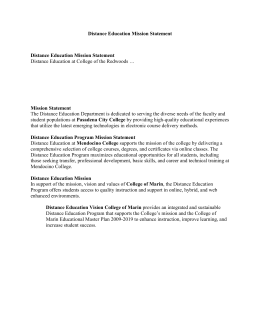 Distance Education Mission Statement Mission Statement