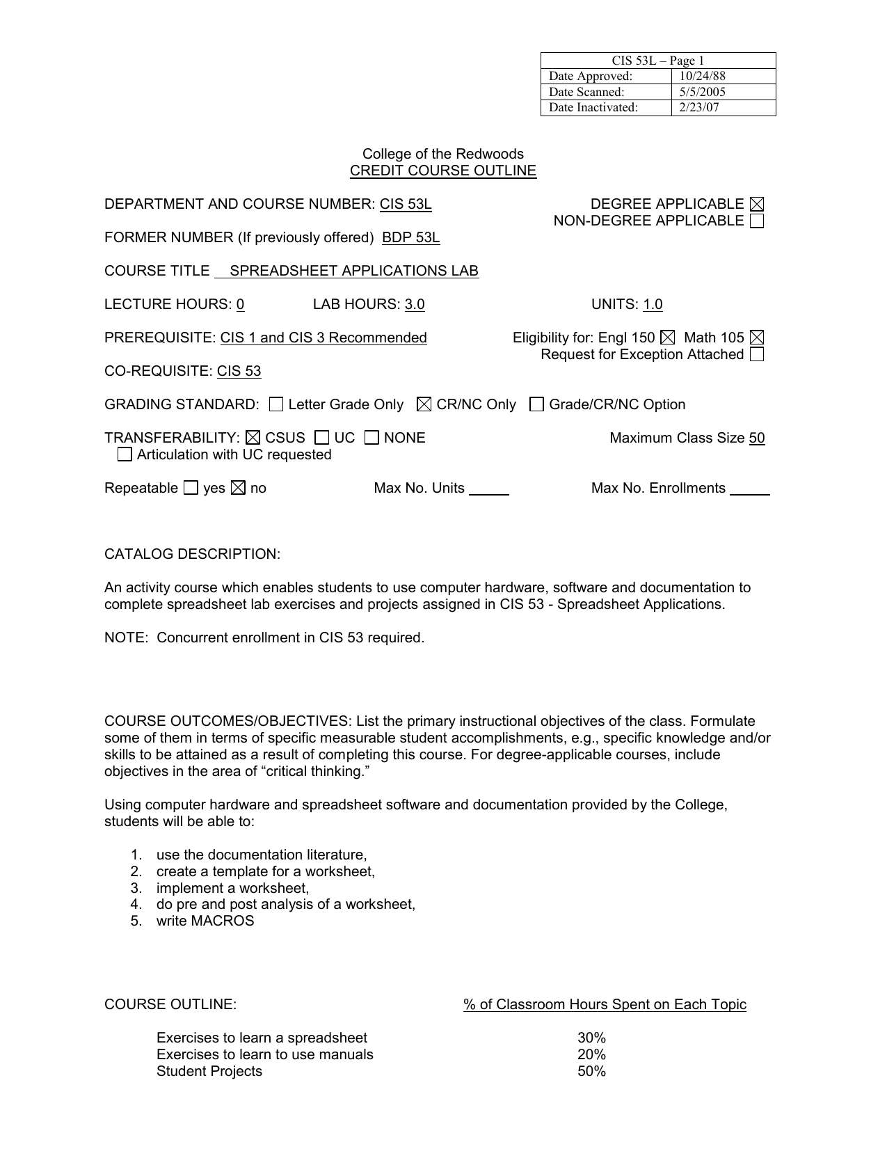 College of the Redwoods CREDIT COURSE OUTLINE
