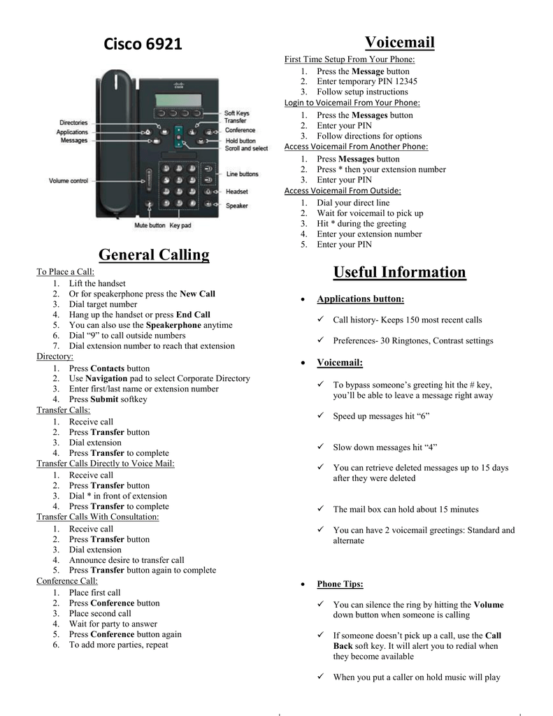 Cisco 6921 Voicemail