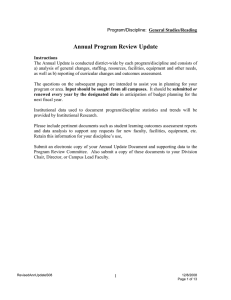 Annual Program Review Update