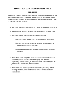 REQUEST FOR FACULTY DEVELOPMENT FUNDS CHECKLIST