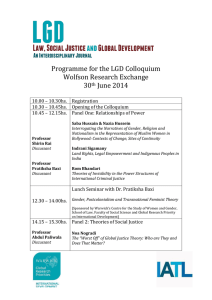 Programme for the LGD Colloquium Wolfson Research Exchange 30 June 2014