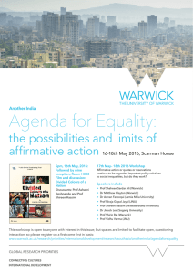 Agenda for Equality: the possibilities and limits of affirmative action