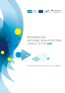 REFERENCING NATIONAL QUALIFICATIONS LEVELS TO THE EQF